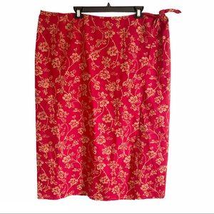 Lauren Ralph Lauren Silk Linen Wrap Skirt Size 22W